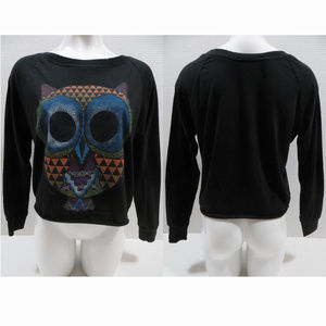 Freeze top Large long sleeve owl graphic raw hem